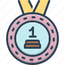 award, first, heretofore, medal, reward, sooner icon
