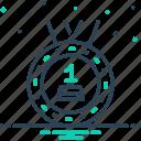 award, first, heretofore, medal, reward, sooner icon