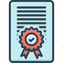accreditation, diploma, accepted, document, confirmation, certificate icon