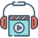 amusement, entertainment, movies, recreation, song, video icon
