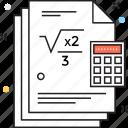math sheet, mathematics, mathematics lesson, mathematics question, questionnaire icon