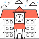 college, institute, institute building, school, school building icon