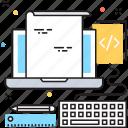coding, laptop, programming, web coding, workstation icon