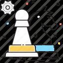 chess, chess knight, cog, cogwheel, game icon