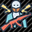 terrorism, intruder, guerrilla, panic, consternation, dread, terrorist