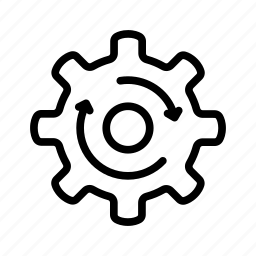 cogwheel, process, rolling, update, upgrade, work icon