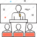 conference, lecture, seminar, speaker, speech icon