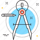 compass, divider, drafting, geometry, precision icon