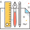 drafing, geometry tools, office tools, pencil, ruler icon