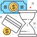 banking, hourglass, money management, money processing, processing icon