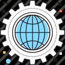 cogwheel, global, global business, global management, globalization icon