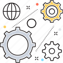 cogwheel, gear, globalization, management, organization management icon