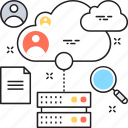 cloud data, cloud server, hosting, magnifying, server icon