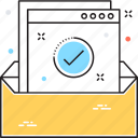 confirmation letter, data storage, drawer, file storage, office material icon
