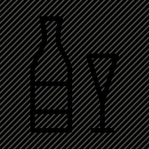 bottle, cava, glass, wine icon
