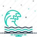 backwash, flood, ripple, surf, wave icon
