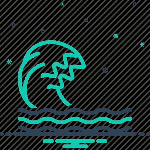 backwash, flood, ripple, surf, wave icon