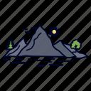 hill, landscape, mountain, nature, tree icon