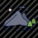 hill, landscape, mountain, nature, sun