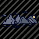 cliff, hill, landscape, mountain, nature icon