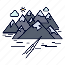 crack, hill, landscape, mountain, rocks icon