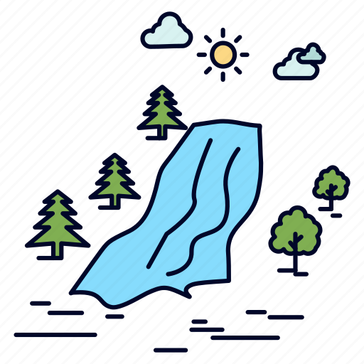 Clouds, nature, pain, tree, waterfall icon - Download on Iconfinder
