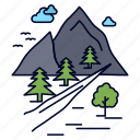 hill, mountain, nature, rocks, tree