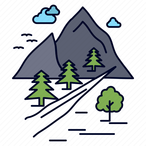 hill, mountain, nature, rocks, tree icon