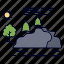 hill, landscape, mountain, nature, rain