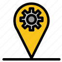 business, gear, location, map
