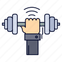 dumbbell, gain, lifting, power, sport icon