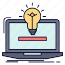 bulb, idea, laptop, solution icon