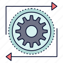 business, gear, management, operation, process icon