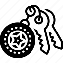 key, keyholder, ring, safety icon