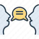 bubble, conversestion, forthrightness, frankness, openness, speak, talk icon
