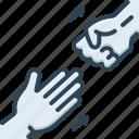abandon, demit, go away, hand, relinquish, renounce, repudiate icon