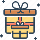 box, gift, pack, parcel, present, ribbon, wraped icon