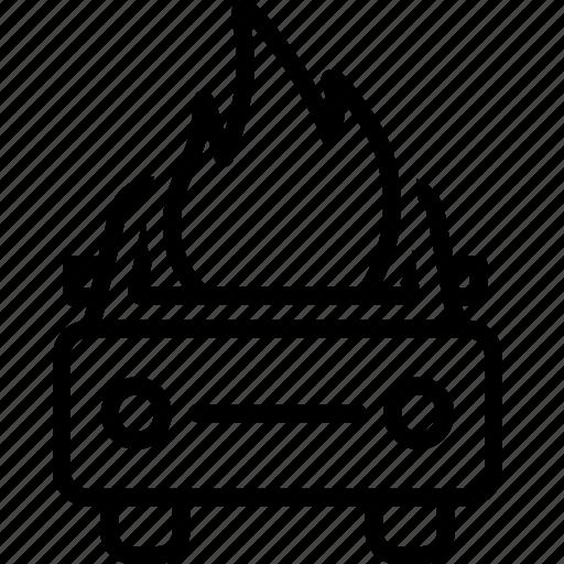 accident, auto, burning, car, explosion icon
