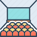 assembly, audience, conference, desk, hall, presentation, seminar icon