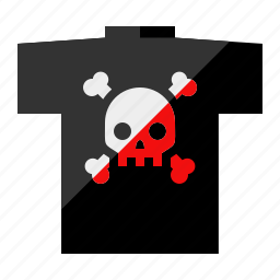 bones, clothing, death, rock-n-roll, skeleton, skull, t-shirt icon