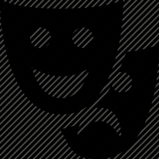 emoticons, expression, face, happy, sad, theatre icon