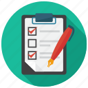 clipboard, document, list, note, pen, tick icon