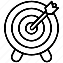arrrow, bullseye, center, dart, goal, shooting, target icon icon