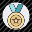 award, gold, medal, reward, star, trophy, winner icon icon