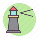 energy, house, light, lighthouse, power, tower icon icon