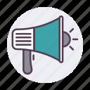bullhorn, loud, marketing, megaphone, speaker, speaker icon icon