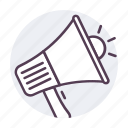 bullhorn, loud, megaphone, speaker icon icon