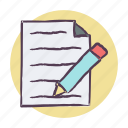 edit, page, paper, pencil icon icon