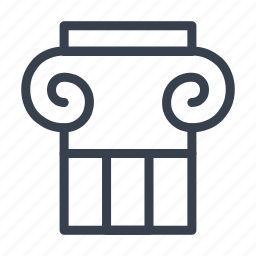 capital, caps, column, ionic, small icon