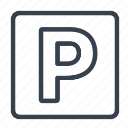 parking, parking lot, parking space, road, sign icon